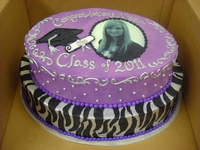 Purple Zebra Cake Design : The Cakery of Dayton: Purple Zebra Graduation Cake